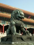 Bronze lion in front of the Forbidden City Royalty Free Stock Photo