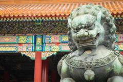 Bronze lion in front of the Hall of Supreme Harmony in Beijing F. Orbidden City, Forbidden City is one of China`s landmarks Royalty Free Stock Photo