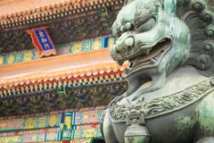 Bronze lion in front of the Hall of Supreme Harmony in Beijing F. Orbidden City, Forbidden City is one of China`s landmarks Stock Photo