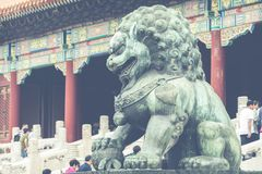 Bronze lion in front of the Hall of Supreme Harmony in Beijing F. Orbidden City, Forbidden City is one of China`s landmarks Stock Photos