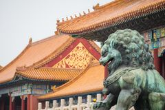 Bronze lion in front of the Hall of Supreme Harmony in Beijing F. Orbidden City, Forbidden City is one of China`s landmarks Royalty Free Stock Photos