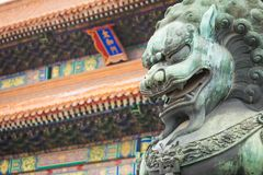 Bronze lion in front of the Hall of Supreme Harmony in Beijing F. Orbidden City, Forbidden City is one of China`s landmarks Stock Photography