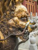 Bronze lion in front of the Hall of Supreme Harmony in Beijing F. Gilded lion statue, Forbidden City, Beijingin Beijing Forbidden City Stock Image