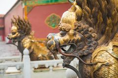 Bronze lion in front of the Hall of Supreme Harmony in Beijing F. Gilded lion statue, Forbidden City, Beijingin Beijing Forbidden City Stock Photography