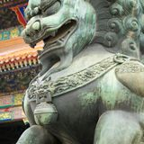 Bronze lion in front of the Hall of Supreme Harmony in Beijing F. Orbidden City, Forbidden City is one of China`s landmarks Royalty Free Stock Image
