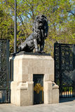 Bronze lion at the gates of Chapultepec Park in Mexico City Royalty Free Stock Photo