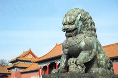 Bronze lion guardian at the Forbidden City, Beijing Royalty Free Stock Photography