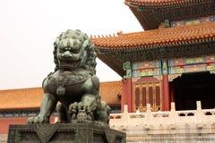 Bronze lion is guarding Forbidden City Royalty Free Stock Photos