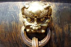 Bronze lion head Stock Photo