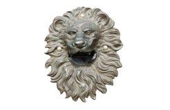 Bronze lion head cutout. Golden antique bronze lion head decoration cutout Royalty Free Stock Photos