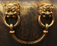 Bronze lion heads. Forbidden City in Beijing royalty free stock images