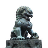 Bronze lion isolated. On white with clipping path stock images