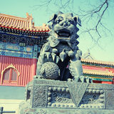 Bronze lion in Lama Temple (Beijing, China) Royalty Free Stock Image
