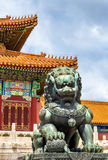 Bronze lion near the Hall of Supreme Harmony - Beijing Forbidden City Royalty Free Stock Image