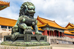 Bronze lion near the Hall of Supreme Harmony - Beijing Forbidden City. Bronze lion in front of the Hall of Supreme Harmony in Beijing Forbidden City, China stock photography
