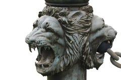 Bronze lion's head isolated Stock Photo