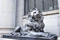 Bronze lion. In Shanghai Bund Financial Street Stock Photography