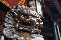 Bronze lion statue in China. Bronze lion statue in a buddhist temple, Chengdu, China stock photography