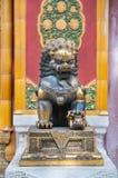 Bronze lion statue at the Forbidden City, Beijing Stock Image