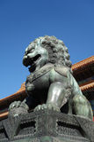 Bronze lion statue in the forbidden city. Bronze lion statue in front of taihe gate of the forbidden city, china Royalty Free Stock Image