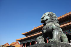 Bronze lion statue in the forbidden city. Bronze lion statue in front of taihe gate of the forbidden city, china Royalty Free Stock Photography