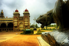 Bronze Lion statue Indian Mysore Palace stock photography