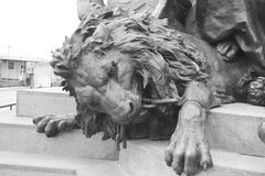 Bronze lion statue. Bronze lion statue on the island of San Marco in historic part of Venice, Italy. Black and white stock photo