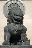 Bronze lion statue in Jingan temple Royalty Free Stock Photo
