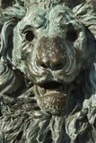 Bronze lion statue in Venice, Italy. Close-up of bronze lion statue turning green from oxidation in Venice, Italy royalty free stock image