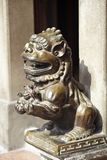 Bronze lion statues. In mazu temple royalty free stock photography
