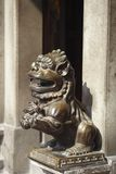Bronze lion statues. In mazu temple stock photo
