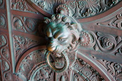 Bronze lionhead door knocker Royalty Free Stock Photo