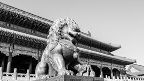 Bronze lions in the imperial palace Royalty Free Stock Images