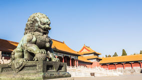 Bronze lions in the imperial palace Royalty Free Stock Image