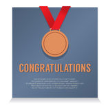 Bronze Medal With Congratulations Card Royalty Free Stock Photography