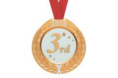 Bronze medal 2016, 3D rendering. On white background Stock Photography
