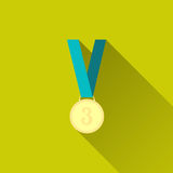 Bronze medal in flat design with long shadow. Bronze medal winner, third place. Sport icon. Flat minimalism design style with long shadow, modern color. Vector Stock Images