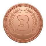 Bronze Medal Isolated on White Background. 3rd Place Medal. 3D Illustration Stock Photos