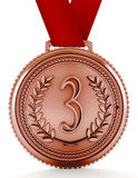 Bronze medal with number three. 3D illustration Royalty Free Stock Images