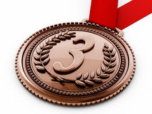 Bronze medal with number three and laurels. 3D illustration Stock Photography