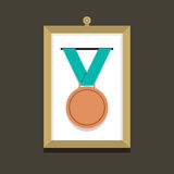 Bronze Medal In A Picture Frame Royalty Free Stock Photo