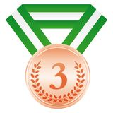 Bronze medal. 3rd place. Award ceremony icon. Bronze medal. 3rd place. Award ceremony Vector sport icon royalty free illustration