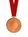 Bronze medal with ribbon for third place Stock Photo