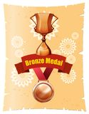Bronze medal and trophy on poster Royalty Free Stock Photography