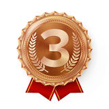 Bronze Medal Vector. Best First Placement. Winner, Champion, Number One. 3rd Place Achievement. Metallic Winner Award Stock Image