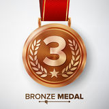 Bronze Medal Vector. Metal Realistic Third Placement Achievement. Round Medal With Red Ribbon, Relief Detail Of Laurel Wreath And Stock Photography