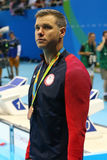 Bronze medalist David Plummer of United States during medal ceremony after Men`s 100m backstroke of the Rio 2016 Olympics Stock Photo