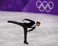 Bronze medalist  Javier Fernandez of Spain performs in the Men Single Skating Short Program at the 2018 Winter Olympic Games. GANGNEUNG, SOUTH KOREA - FEBRUARY Royalty Free Stock Image