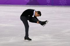 Bronze medalist  Javier Fernandez of Spain performs in the Men Single Skating Short Program at the 2018 Winter Olympic Games. GANGNEUNG, SOUTH KOREA - FEBRUARY Stock Photos