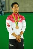 Bronze medalist Kei Nishikori of Japan during tennis men`s singles medal ceremony of the Rio 2016 Olympic Games Stock Image